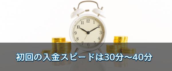 初回の入金スピードは30分~40分